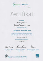 Zertifikat - Energiefachbetrieb 2012