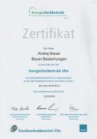Zertifikat - Energiefachbetrieb 2013