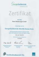 Zertifikat - Energiefachbetrieb 2014