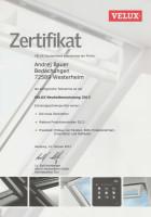Zertifikat Velux