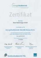 Zertifikat Energiefachbetrieb 2015