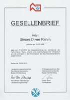 Simon Rehm Gesellenbrief