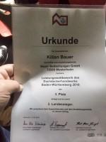 Urkunde Dachdecker Landessieger Kilian Bauer